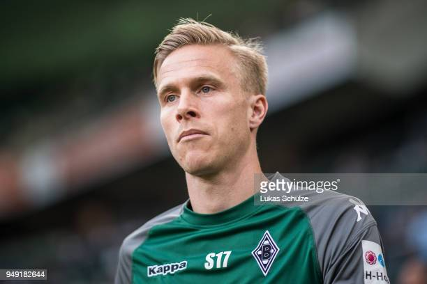 Oscar Wendt of Moenchengladbach looks up prior to the Bundesliga match between Borussia Moenchengladbach and VfL Wolfsburg at BorussiaPark on April...