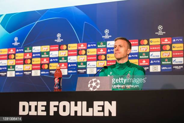 Oscar Wendt talks to the media during a press conference of Borussia Moenchengladbach ahead the UEFA Champions League Round Of 16 Leg One match at...