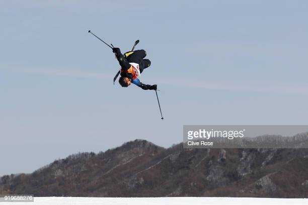 Oscar Wester of Sweden competes during the Freestyle Skiing Men's Ski Slopestyle qualification on day nine of the PyeongChang 2018 Winter Olympic...