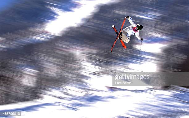Oscar Wester of Sweden practices during training for Ski Slopestyle at the Extreme Park at Rosa Khutor Mountain on February 4, 2014 in Sochi, Russia.