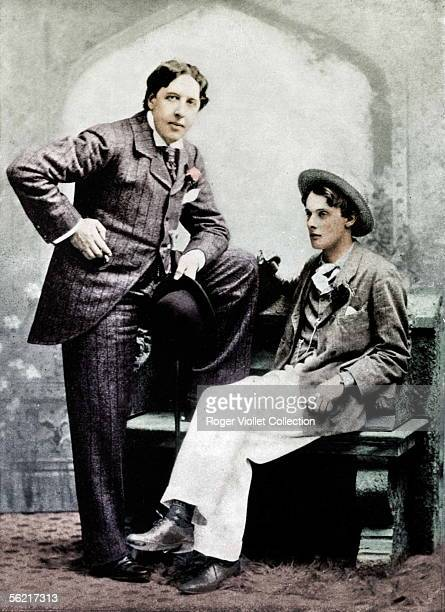 Oscar Wilde and Lord Alfred Douglas British writers on 1894 Colourized photo