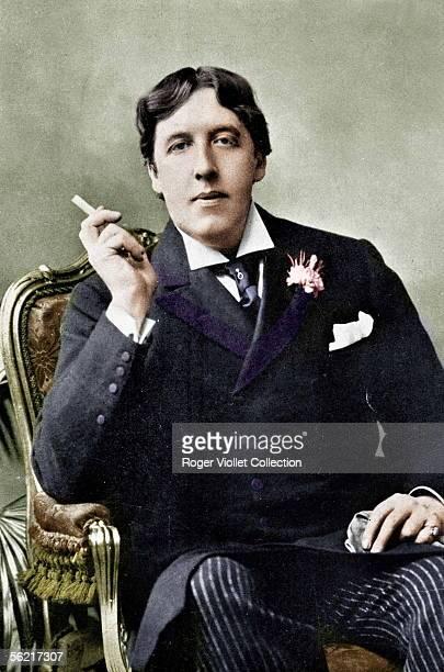 Oscar Wilde Irish writer Colourized photo