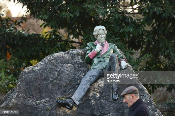 Oscar Wilde sculpture located at the corner of Merrion Square Park just in front of his family home in Merrion Square in Dublin on the day of the...