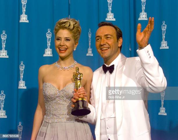 Oscar Winner Actor Kevin Spacey and Mira Sorvino backstage during 1996 Academy Awards Show on March 25 in Los Angeles California