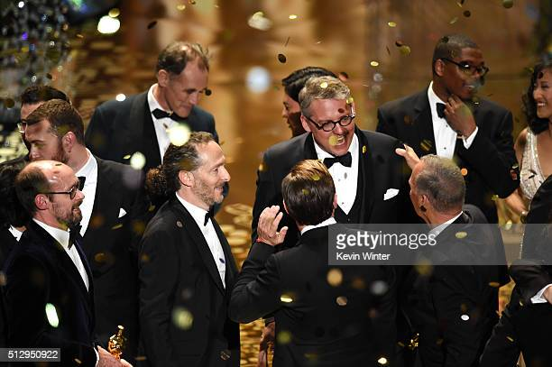 Oscar winners including actor Mark Rylance cinematographer Emmanuel Lubezki and writerdirector Adam McKay celebrate onstage during the 88th Annual...