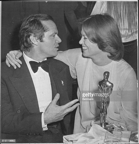 Oscar winners Jack Nicholson and Louise Fletcher celebrate their victories at a party after winning top honors at the Academy Awards Nicholson won...