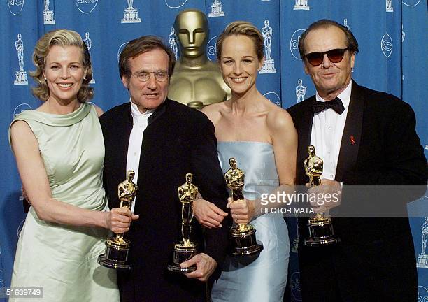 Oscar winners Kim Basinger , Best Supporting Actress; Robin Williams , Best Supporting Actor; Helen Hunt , Best Actress and Jack Nicholson, Best...