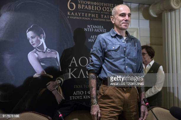 Oscar winning actor Daniel DayLewis arrives for a press conference for the premiere of his new film 'Phantom Thread' in Athens on February 1 2018 /...