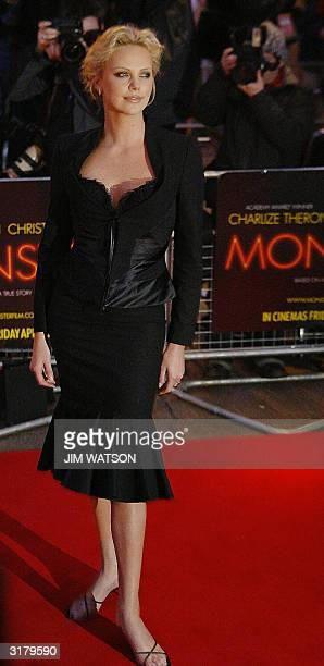Oscar winning South African actress Charlize Theron arrives at the Warner Village Theatre in London for the premiere of 'Monster' where she portrayed...
