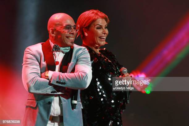 Oscarito and Olga Tanon perform a duet as part of Olga Tanon Concert at Centro de Bellas Artes on June 16 2018 in San Juan Puerto Rico