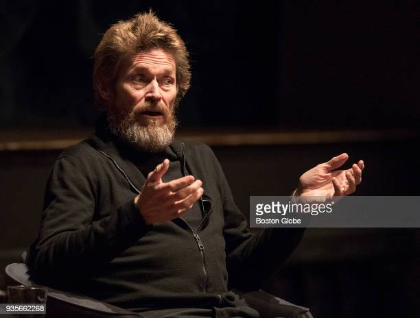Oscarnominated actor Willem Dafoe is interviewed by Boston University Dean of the College of Fine Arts Harvey Young during the Howard Gotlieb...
