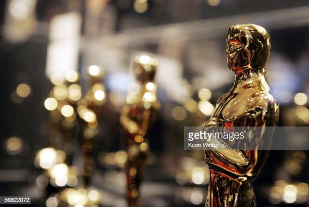 "Oscars are displayed at ""Meet the Oscars"", an exhibit featuring the 50 Oscar statuettes that will be presented at the 78th Academy Awards, at..."