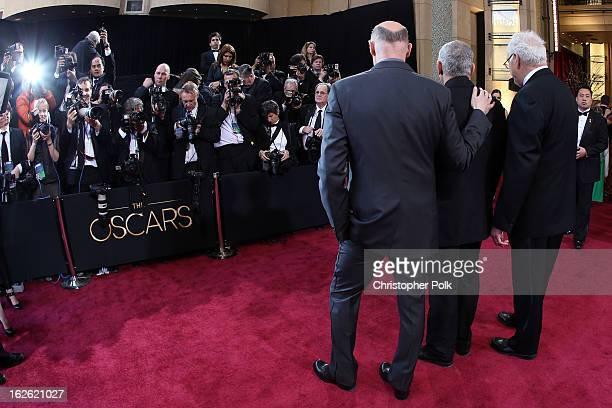 Oscars Telecast Executive Producers Neil Meron and Craig Zadan and AMPAS President Hawk Koch arrive at the Oscars held at Hollywood Highland Center...