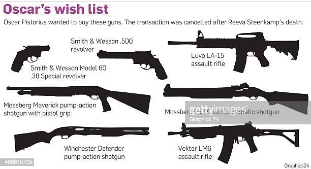 Oscar's Wish List a graphic showing the firearms Oscar Pistorius was set to purchase prior to Reeva Steenkamp's death He canceled the order after the...