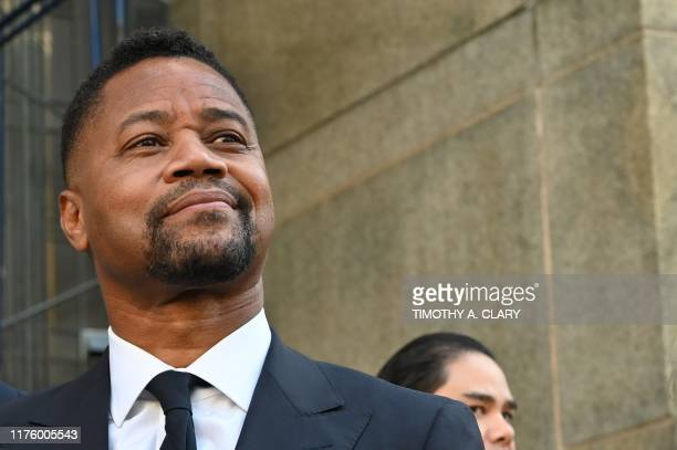 Oscar-winning actor Cuba Gooding Jr. Looks up as he departs his court arraignment in New York on October 15 where new charges are to be unsealed on...