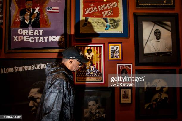 Oscar-winning director Spike Lee takes a private tour of an exhibit featuring objects from his personal collection, which is being presented as part...