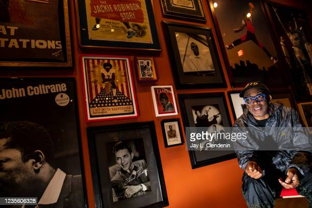 Oscar-winning director Spike Lee talks about a wall of inspiration as part of his private tour of an exhibit featuring objects from his personal...