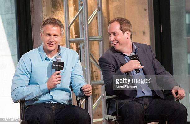 "Oscar-winning filmmaker Daniel Junge and Oscar-nominated filmmaker Kief Davidson attend AOL Build Presents: ""A LEGO Brickumentary"" at AOL Studios In..."