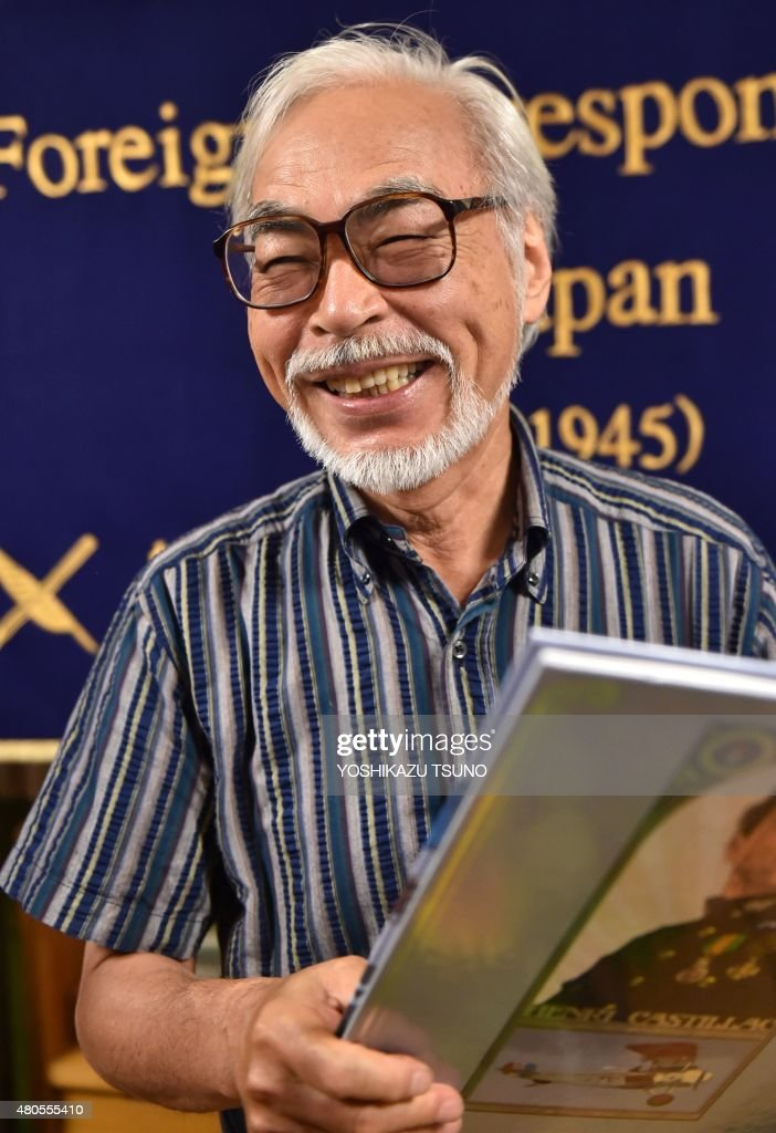 Oscar-winning Japanese animator Hayao Miyazaki speaks to the press in Tokyo on July 13, 2015. Miyazaki is making a short animation movie with a character of a caterpillar, which will be screening at the Ghibli Museum in suburban Tokyo. AFP PHOTO / Yoshikazu TSUNO