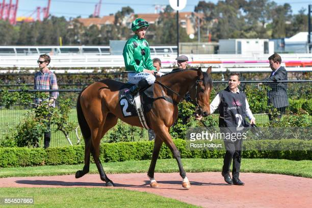 Oscietra ridden by Mitchell Aitken in the mounting yard before running unplaced in the Have You RSVP'd Handicap at Flemington Racecourse on September...