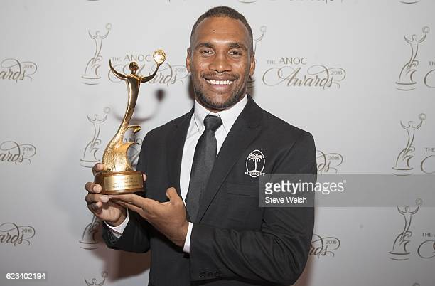 Osea Kolinisau accepts the Best Male Team of Rio 2016: Team Fiji Rugby Sevens during The ANOC Awards 2016 at the The Qatar National Convention Centre...