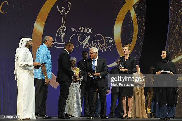 Osea Kolinisau accepts the Breakthrough NOCs of Rio 2016 award on behalf of the Fiji NOC, presented by Robin Mitchell, ANOC Vice-President for...