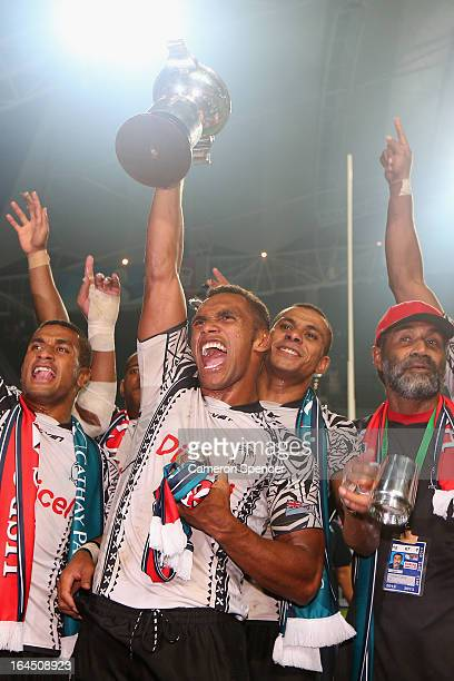 Osea Kolinisau of Fiji and team mates celebrate winning the Cup Final match against Wales during day three of the 2013 Hong Kong Sevens at Hong Kong...