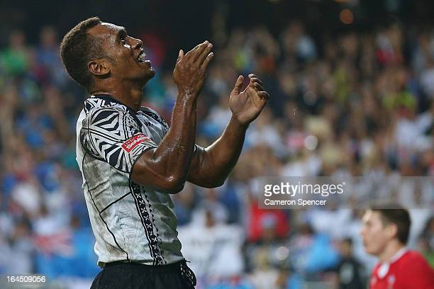 Osea Kolinisau of Fiji celebrates after scoring a try during day three of the 2013 Hong Kong Sevens at Hong Kong Stadium on March 24, 2013 in So Kon...