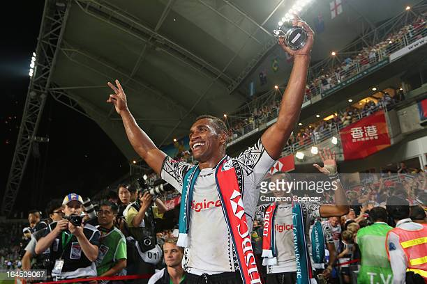 Osea Kolinisau of Fiji celebrates after wining the Cup Final match between Fiji and Wales during day three of the 2013 Hong Kong Sevens at Hong Kong...