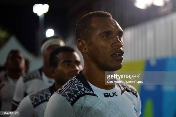 Osea Kolinisau of Fiji prepares to lead out his team during the Men's Rugby Sevens Gold Medal match between Fiji and Great Britain on day six of the...