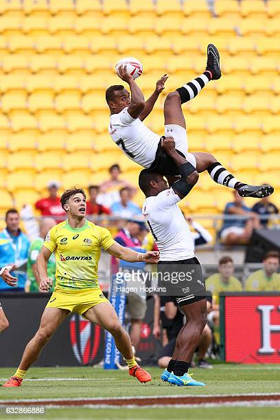 Osea Kolinisau of Fiji receives the kick-off in the pool match between Australia and Fiji during the 2017 Wellington Sevens at Westpac Stadium on...