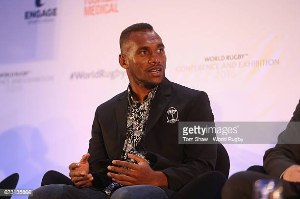 Osea Kolinisau of Fiji talks to the panel during the World Rugby via Getty Images Conference and Exhibition 2016 at the Hilton Metropole Hotel on...