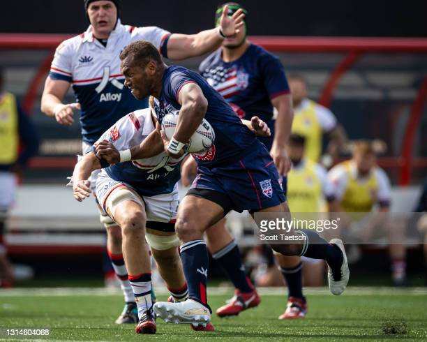 Osea Kolinisau of Old Glory DC carries the ball against the New England Free Jacks during the first half of the match at Segra Field on April 25,...