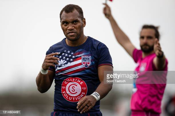 Osea Kolinisau of Old Glory DC reacts after a play against the New England Free Jacks during the second half of the match at Segra Field on April 25,...
