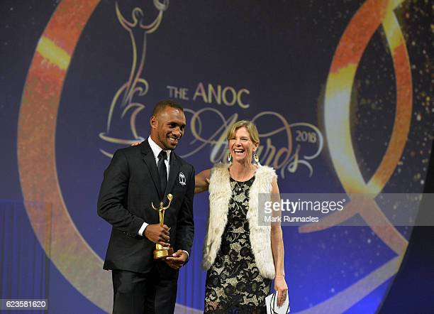 Osea Kolinisau poses with award presenter Barbara Kendall, Chair of ANOC AthletesÕ Commission after accepting the award for Best Male Team of Rio...