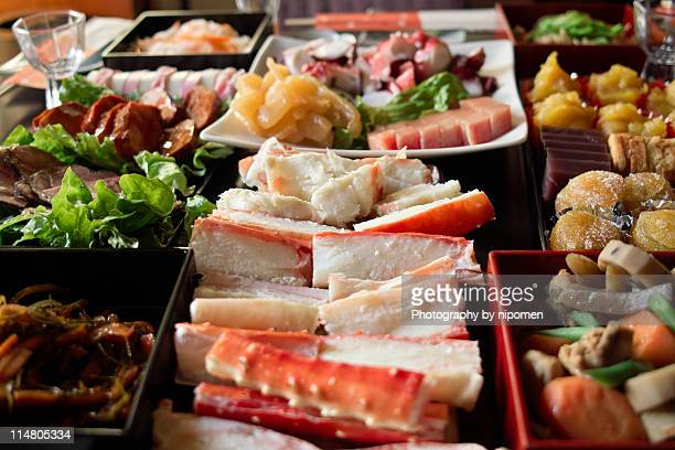 osechi dishes - osechi ryori stock pictures, royalty-free photos & images