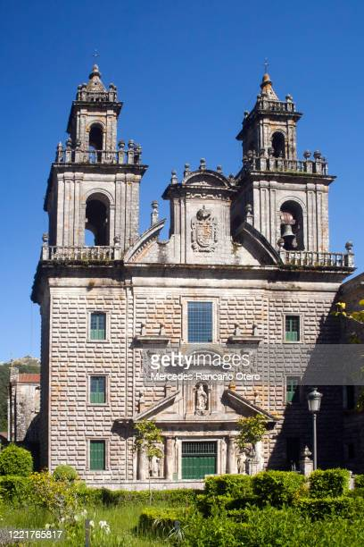 oseira monastery church facade, ourense province, galicia, spain . - abbey monastery stock pictures, royalty-free photos & images