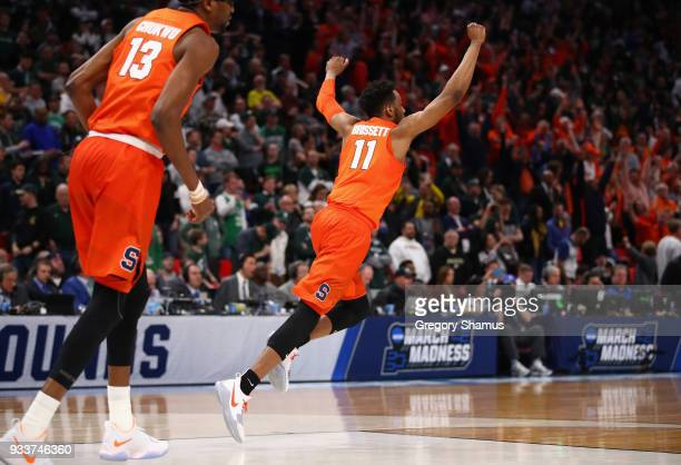 Oshae Brissett of the Syracuse Orange celebrates defeating the Michigan State Spartans 5553 in the second round of the 2018 NCAA Men's Basketball...