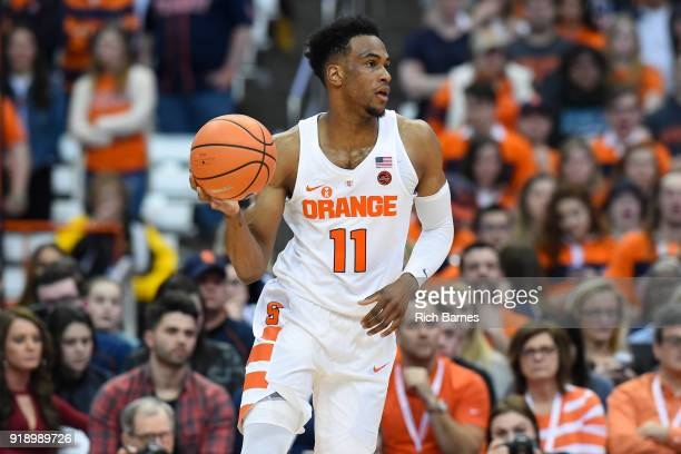 Oshae Brissett of the Syracuse Orange controls the ball against the North Carolina State Wolfpack during the second half at the Carrier Dome on...