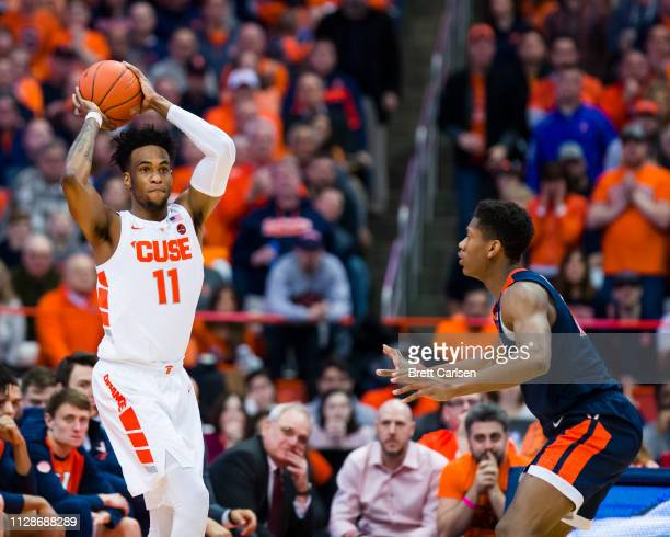 Oshae Brissett of the Syracuse Orange passes the ball during the first half against the Virginia Cavaliers at the Carrier Dome on March 4 2019 in...
