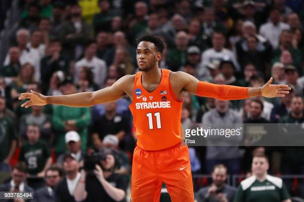 Oshae Brissett of the Syracuse Orange plays defense during the second half against the Michigan State Spartans in the second round of the 2018 NCAA...
