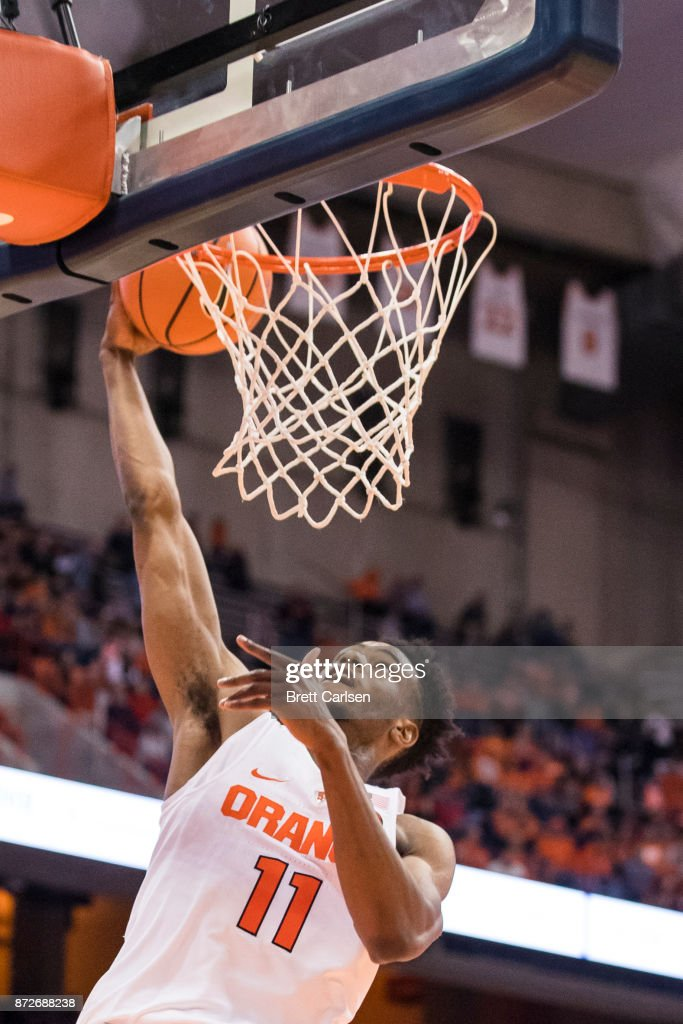 Oshae Brissett #11 of the Syracuse Orange puts in a lay up during the second half against the Cornell Big Red at the Carrier Dome on November 10, 2017 in Syracuse, New York. Syracuse defeats Cornell 77-45.