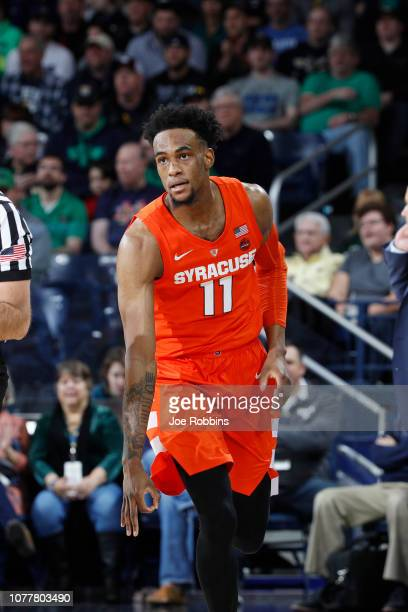 Oshae Brissett of the Syracuse Orange reacts after making a threepoint shot against the Notre Dame Fighting Irish in the first half of the game at...