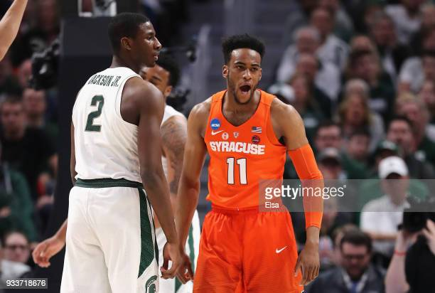 Oshae Brissett of the Syracuse Orange reacts during the first half against the Michigan State Spartans in the second round of the 2018 NCAA Men's...