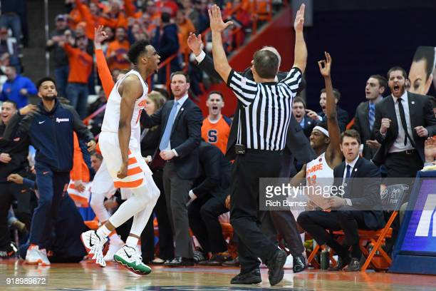 Oshae Brissett of the Syracuse Orange reacts to a made threepoint basket that tied the game late in the second half against the North Carolina State...