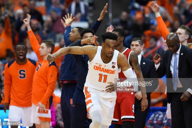 Oshae Brissett of the Syracuse Orange reacts to a made threepoint basket against the North Carolina State Wolfpack during the second half at the...