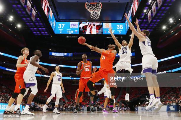 Oshae Brissett of the Syracuse Orange shoots the ball during the second half against the TCU Horned Frogs in the first round of the 2018 NCAA Men's...
