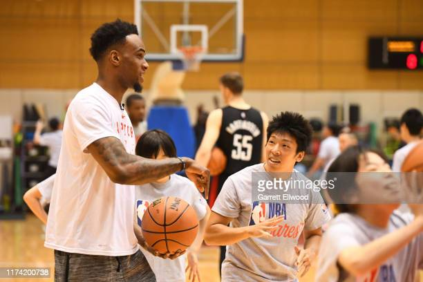 Oshae Brissett of the Toronto Raptors during the NBA Cares Special Olympics Unified Clinic part of the 2019 NBA Japan Games at a training facility on...
