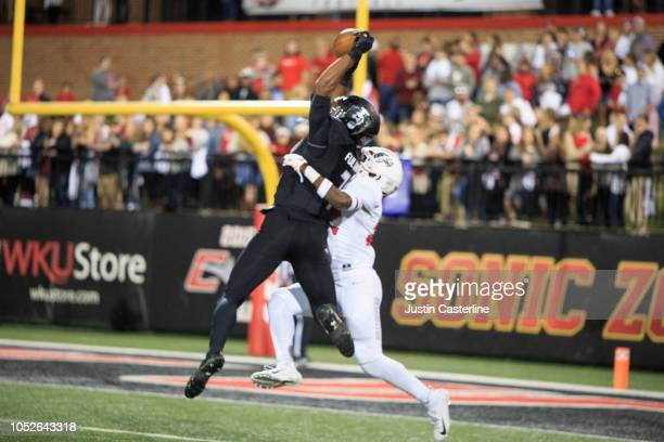 Oshane Ximines of the Old Dominion Monarchs goes up for a catch in the game against the Western Kentucky Hilltoppers on October 20 2018 in Bowling...