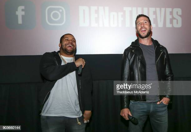 OShea Jackson Jr and Pablo Schreiber at The Den of Thieves special screening at Regal South Beach on January 10 2018 in Miami Florida